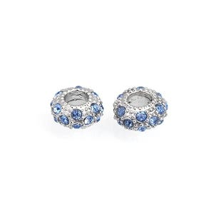 Silver/Blue Rhodium Plated Alloy Large Hole Beads 6mm x 11mm Pack Of 10 GS17814