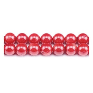 Red Dyed Coral Plain Round Beads 6mm Strand Of 60+ Pieces GS1862-2