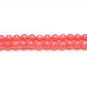 Dull Pink Coral Plain Round Beads 4mm Strand Of 95+ Pieces GS1864-1