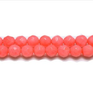 Dull Pink Coral Faceted Round Beads 6mm Strand Of 62+ Pieces GS1867-2