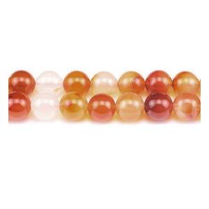 Orange/White Carnelian Grade A Plain Round Beads 6mm Strand Of 60+ Pieces GS2550-2