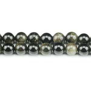 Black/Golden Rainbow Obsidian Grade A Plain Round Beads 8mm Strand Of 45+ Pieces GS2886-3