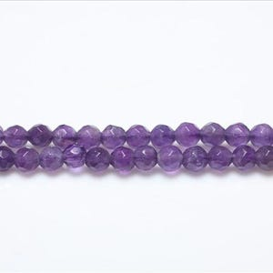 Purple Amethyst Grade A Faceted Round Beads 4mm Strand Of 95+ Pieces GS3044-1