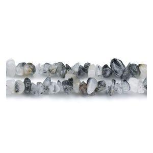 Grey/Black Rutilated Quartz Grade A Chip Beads 5mm-8mm Long Strand Of 240+ Pieces GS3101