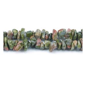 Green/Orange Unakite Grade A Chip Beads 5mm-8mm Long Strand Of 240+ Pieces GS3120