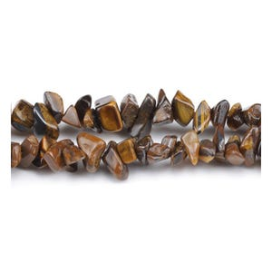 Yellow/Brown Tiger Eye Grade A Chip Beads 5mm-8mm Long Strand Of 240+ Pieces GS3154