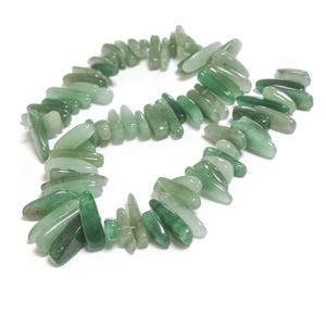 Green Aventurine Grade A Long Tooth Chip Beads 3x12mm-7x25mm Strand Of 85+ Pieces GS3170