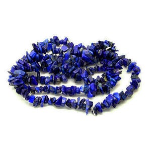 Blue Dyed Lapis Lazuli Grade A Chip Beads 5mm-8mm Long Strand Of 240+ Pieces GS3196