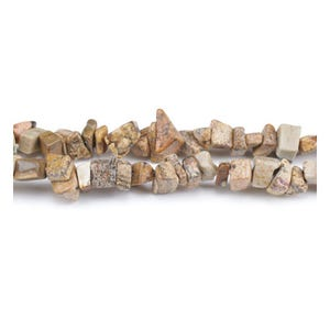 Pale Beige Picture Jasper Grade A Chip Beads 5mm-8mm Long Strand Of 240+ Pieces GS3223