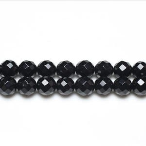 Black Onyx Grade A Faceted Round Beads 10mm Strand Of 38+ Pieces GS3373-4