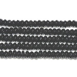 Black Onyx Grade A Faceted Rondelle Beads 5mm x 8mm Strand Of 70+ Pieces GS3378-2