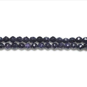 Blue Goldstone Faceted Round Beads 4mm Strand Of 95+ Pieces GS3405-1