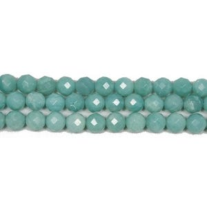 Turquoise Amazonite Grade A Faceted Round Beads 4mm Strand Of 90+ Pieces GS4778-1