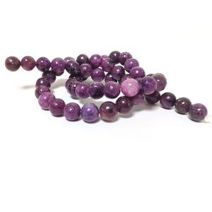 Purple Lepidolite Grade A Plain Round Beads 8mm Strand Of 45+ Pieces GS4988-2