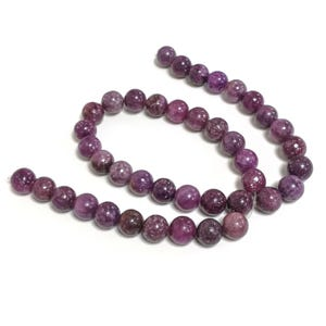 Purple Lepidolite Grade A Plain Round Beads 10mm Strand Of 38+ Pieces GS4988-3