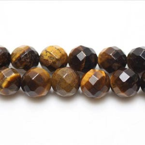 Yellow/Brown Tiger Eye Grade A Faceted Round Beads 6mm Strand Of 62+ Pieces GS5462-1