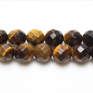 Yellow/Brown Tiger Eye Grade A Faceted Round Beads 8mm Strand Of 45+ Pieces GS5462-2