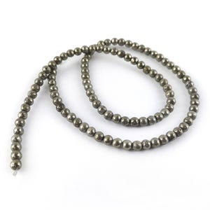 Pale Gold Pyrite Grade A Plain Round Beads 4mm Strand Of 95+ Pieces GS6093-1