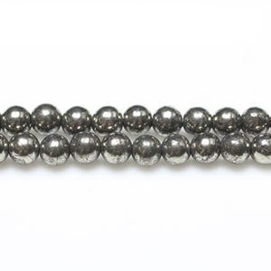 Pale Gold Pyrite Grade A Plain Round Beads 6mm Strand Of 60+ Pieces GS6093-2