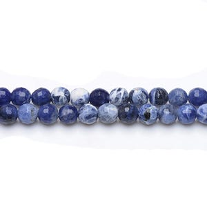 Blue Sodalite Grade A Faceted Round Beads 6mm Strand Of 60+ Pieces GS6841-1