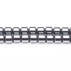 Grey Hematite (Non Magnetic) Grade A Drum Beads 4mm x 4mm Strand Of 70+ Pieces GS6870-1