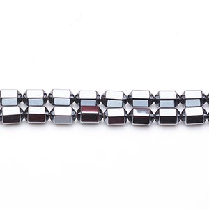 Grey Hematite (Non Magnetic) Grade A Hexagon Rice Beads 6mm x 8mm Strand Of 45+ Pieces GS6873-1