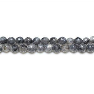 Black/Grey Larvikite Grade A Faceted Round Beads 6mm Strand Of 62+ Pieces GS8636-2