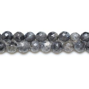 Black/Grey Larvikite Grade A Faceted Round Beads 8mm Strand Of 45+ Pieces GS8636-3