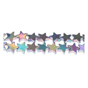Rainbow Hematite (Non Magnetic) Grade A Flat Star Beads 10mm Strand Of 38+ Pieces GS9611