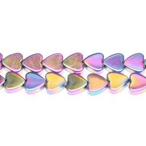 Rainbow Hematite (Non Magnetic) Grade A Flat Heart Beads 6mm Strand Of 65+ Pieces GS9619