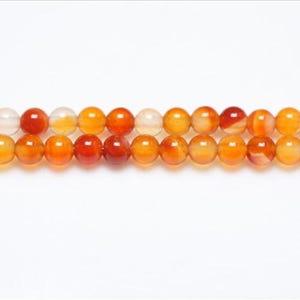 Orange/White Carnelian Grade A Plain Round Beads 3mm Strand Of 110+ Pieces GS9705-2
