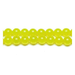Yellow/Green Malaysian Jade Grade A Plain Round Beads 6mm Strand Of 62+ Pieces GS9960-2