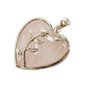 Pink Quartz Leafy Heart Pendant 35mm  HA01010