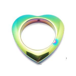 Rainbow Hematite (Non Magnetic) Heart Pendant 35mm  HA01030