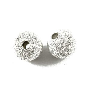 Silver Stardust Brass Round Spacer Beads 8mm Pack Of 50 HA01920