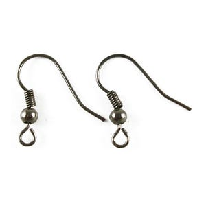 Dark Silver Iron 0.6mm x 18mm Fish Hook Earring Wires Pack Of 120+ HA02143