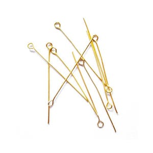 Golden Plated Iron 0.7mm x 40mm Eye Pins Pack Of 275+ HA02190