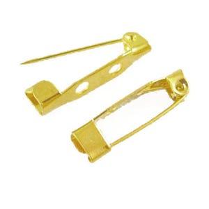 Golden Iron 5mm x 20mm Rectangle Brooch Backs Pack Of 50 HA02511