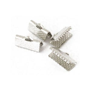 Antique Silver Iron 7mm x 13mm Rectangle Ribbon Ends Pack Of 50+ HA02530