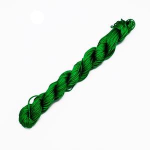 Bright Green Silky Nylon Kumihimo Macrame Cord 12M Skein 2mm Thick HA03570