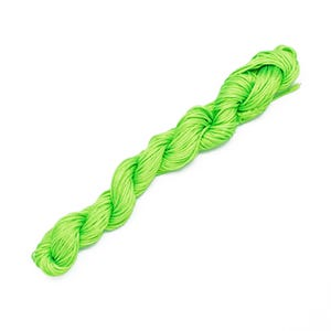 Lime Green Silky Nylon Kumihimo Macrame Cord 25M Skein 1mm Thick HA03915