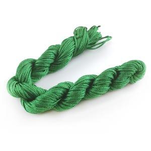 Bright Green Silky Nylon Kumihimo Macrame Cord 25M Skein 1mm Thick HA03925