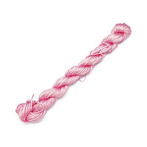 Pale Pink Silky Nylon Kumihimo Macrame Cord 25M Skein 1mm Thick HA03930