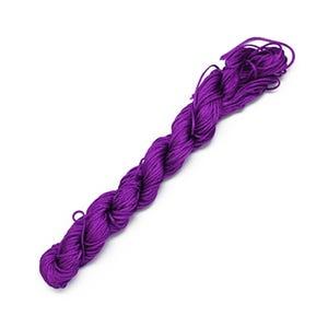 Bright Violet Silky Nylon Kumihimo Macrame Cord 25M Skein 1mm Thick HA03945