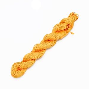 Dull Yellow Silky Nylon Kumihimo Macrame Cord 25M Skein 1mm Thick HA03985