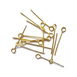 Golden Plated Iron 0.7mm x 20mm Eye Pins Pack Of 600+ HA06070