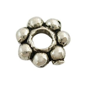 Antique Silver Metal Alloy Flower Spacer Beads 6mm Pack Of 100+ HA06195