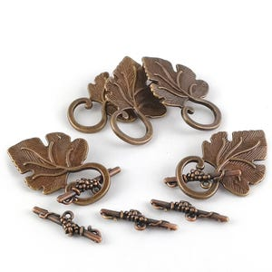 Red Copper Metal Alloy 4.5 x 7 x 24mm Leaf Toggle Clasps Pack Of 5 HA06300