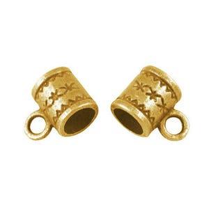 Antique Gold Tibetan Zinc 8mm x 11mm Barrel Charm Hangers Pack Of 20 HA06365