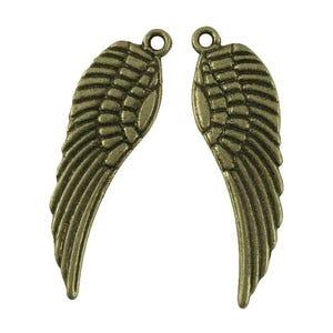 Antique Bronze Tibetan Zinc Angel Wings Pendants 9mm x 30mm Pack Of 30 HA06380
